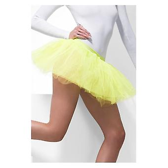 Womens Neon geel Tutu onderjurk Fancy Dress accessoire
