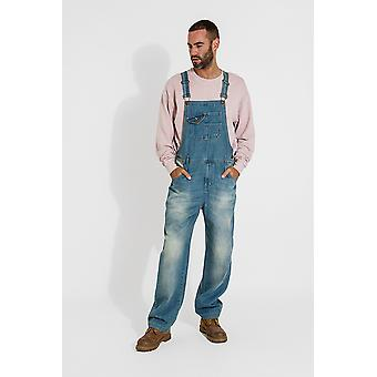 Stevie super loose fit mens dungarees - aged blue