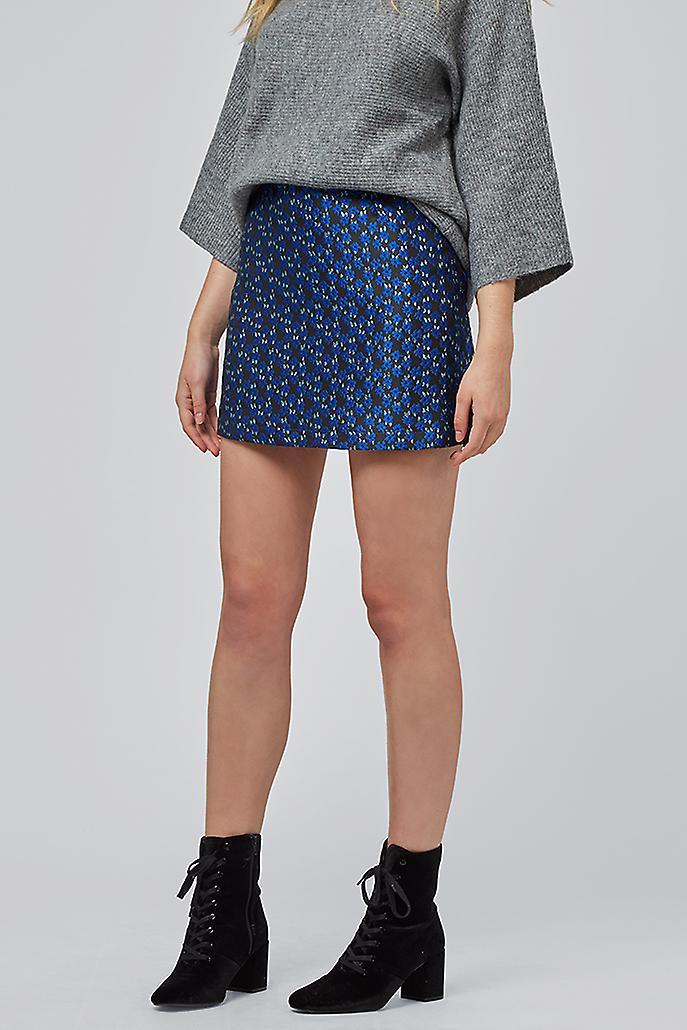 Louche Aubin Floral  Jacquard Skirt Blue