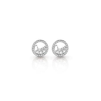 Guess Jewellery Guess Rhodium Plated Circle And Logo Script Stud Earrings UBE85075