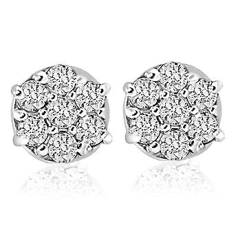 1/4cttw Diamond Cluster Dames Studs in 10k Wit Goud