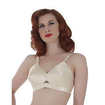 What Katie Did Vintage Peach Satin Padded Bullet Bra L6035
