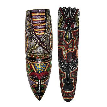 Set of 2 Hand Carved Dot Painted Asmat Wooden Mask Wall Hangings