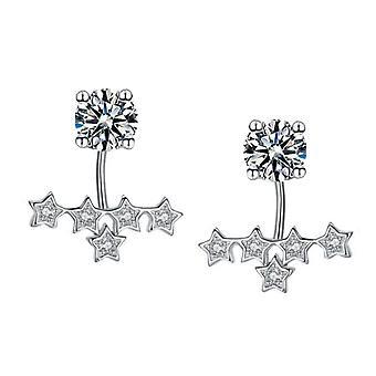 925 Sterling Silver Stars Aaaa Cz Jacket Stud Earrings