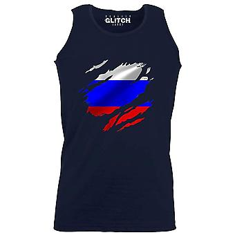 Reality glitch torn russia flag mens vest