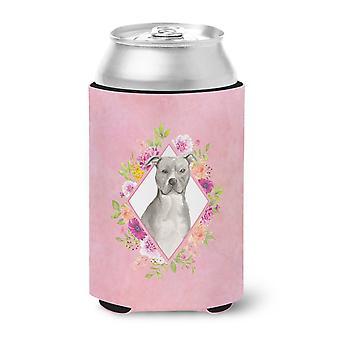 Blue Pit Bull Terrier Pink Flowers Can or Bottle Hugger