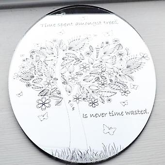 Time Spent Amongst Trees Tree on Oval Engraved Acrylic Mirror