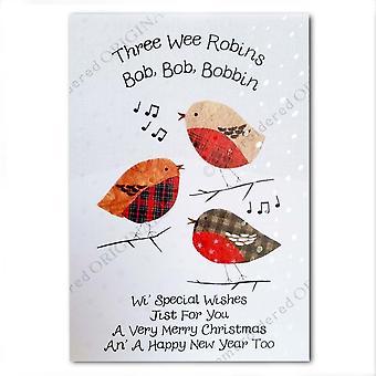 Brodert Originals tre Wee Robins julekort