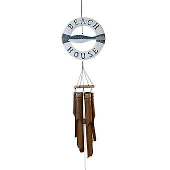 Le carillon de vent de poissons d'anneau bleu et blanc d'anneau de vie