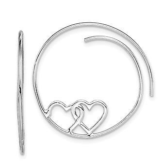 925 Sterling Argento Rodiato placcato Love Heart Hoop Orecchini Misure 27.25x25.5mm Grandi regali gioielli per le donne