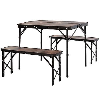 Outsunny 3 Pcs Picnic Table Bench Set Aluminium Frame Wood Effect Outdoor Garden Dining 4 Person Folding