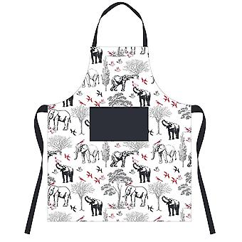 Downview Elephant Print Cotton Apron
