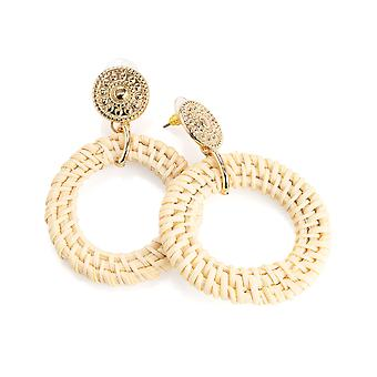 Gold Colour Natural Cream Tone Circular Woven Design Earrings