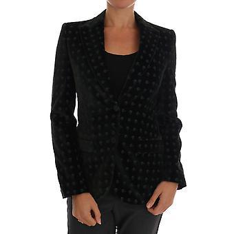 Dolce & Gabbana Green Embroidered Velvet Blazer Jacket