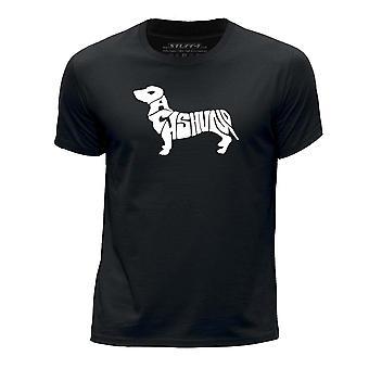 STUFF4 Boy's Round Neck T-Shirt/Dog Love / Dachshund/Black