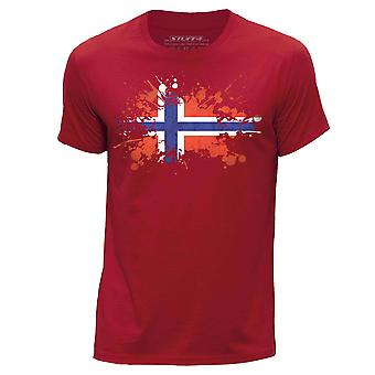 STUFF4 Hombres's Round Neck Camiseta/Noruega/Norweigen Flag Splat/Red