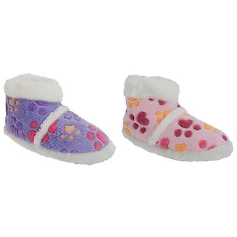 Girls Dog Paw Patterned Boot Slippers