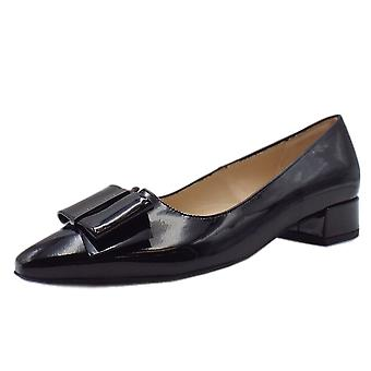 Peter Kaiser Sera Pointed Toe Low Heel Courts In Black Lack