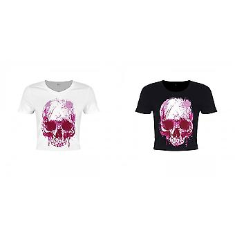 Unorthodox Collective Ladies/Womens Cursive Skull Crop Top