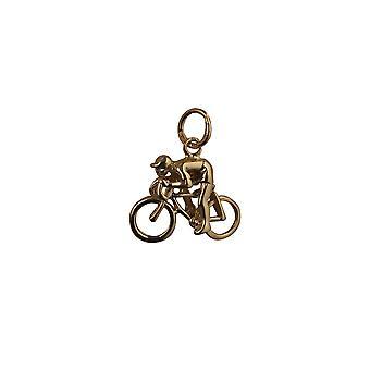 دراجات 14x18mm الذهب 9 قيراط وقلادة الدراج أو سحر