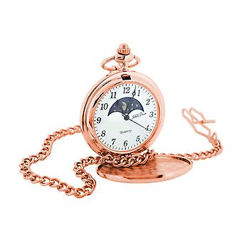 Jakob Strauss Rose Goldtone Sun & Moon Numerot Gents Pocket Watch + 12 Chain JAST55