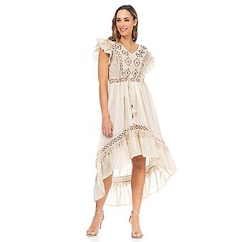 Embroidered chest dress with ethnic details, ruffles on sleeves and irregular hem