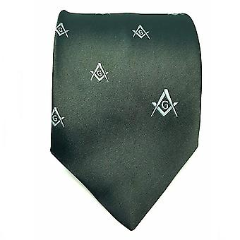 Frimurer regalia håndverket murere silke slips brodert firkantet kompass & g grønn