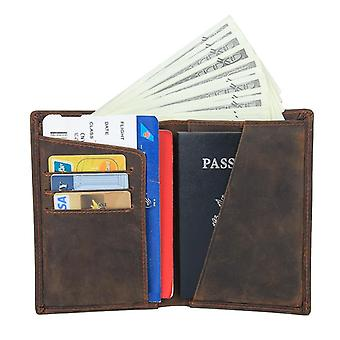 Passport case /card holder with RFID protection - leather - brown