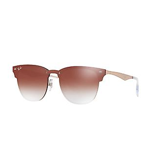 Ray-Ban Blaze Clubmaster Copper/Clear Gradient Red Mirror Red Frames Sunglasses