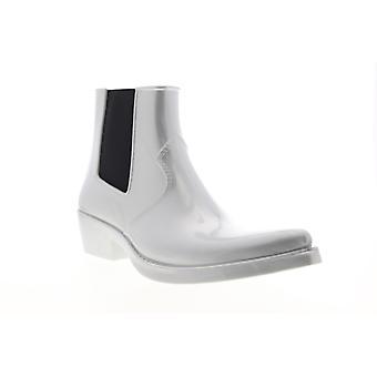 Calvin Klein Cole Metallisk Gummi Menns Sølv Grå Chelsea Støvler