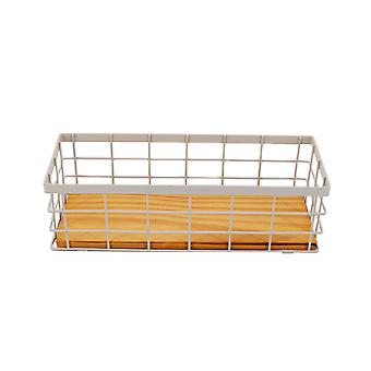 Wrought iron square table storage basket 25.7x9.7x7.6cm