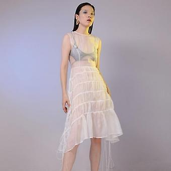 Drawstring Loose Long Irregular Hem Dress