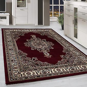Klassik Orient Teppich Edle Bordüre Ornament Muster Wohnzimmerteppich Rot Beige