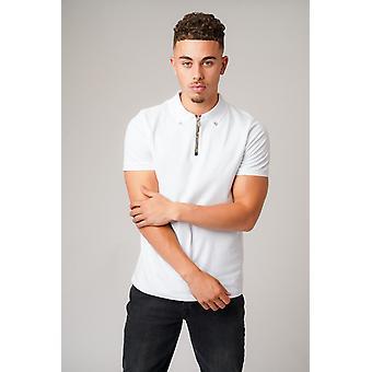 Don zip white polo t-shirt