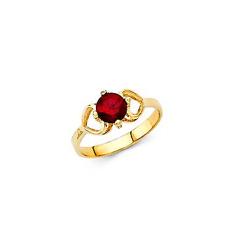 14k Yellow Gold Boys and Girls January Birthday Ring Taille 3 - .8 Grams