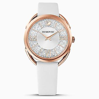 Swarovski 5452459 Rose-Gold Tone PVD White Leather Strap Crystalline Glam Ladies Watch