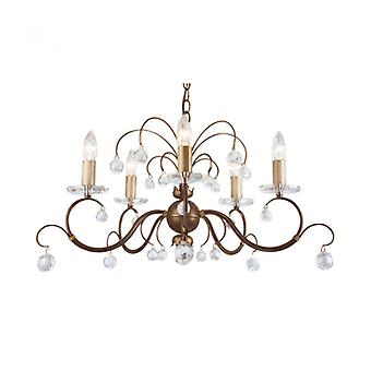 Lunetta Pendant, Bronze And Crystal, 5 Bulbs