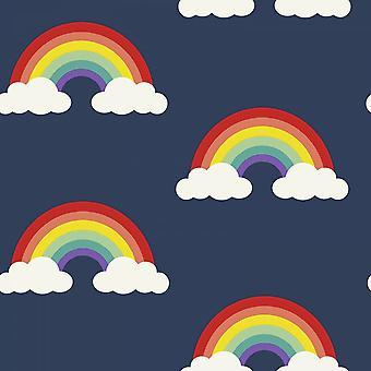 Belgravia Pretty Rainbow Wallpaper Clouds Sky Childrens Kids Bedroom Navy Blue