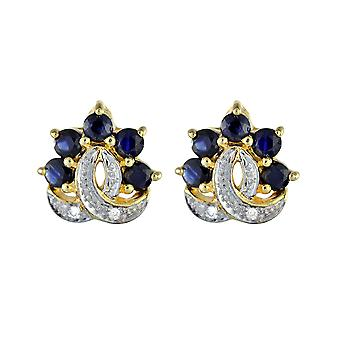 9ct Gold Genuine Sapphire & Diamond Cluster Stud Earrings Gift Boxed NEW 8625