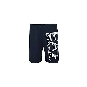 EA7 by Emporio Armani Cotton Printed Logo Navy Shorts