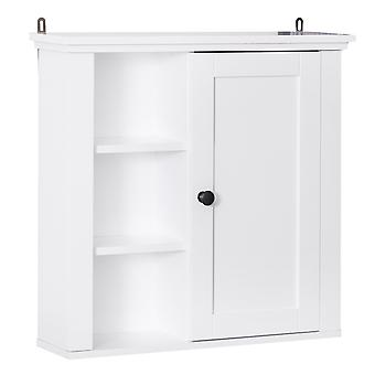 HOMCOM Wall Mounted Bathroom Cabinet Home Organiser Closet Kitchen Pantry Storage Shelves White