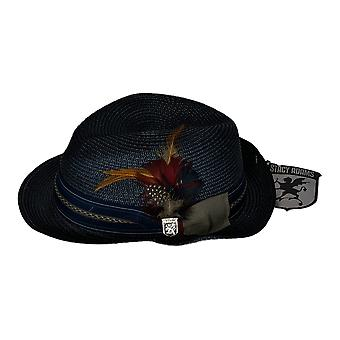 Stacy Adams Classic verfraaid Fedora Navy Blue Hat