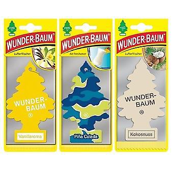 Doftgran Wunder-Baum (Vanilj + Pina Colada + Kokosnöt) 3-Pack