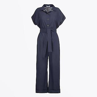 A-line - Belted Button-up Jumpsuit - Indigo