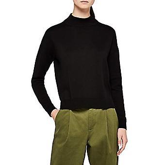Meraki Women's Boxy High-Neck Cotton-Blend Sweater ,  Black, EU L (US 10)
