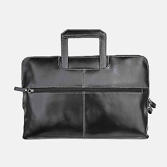 Primehide Mens Slim Leather Briefcase Folio Padded Laptop Compartment Gents 1195