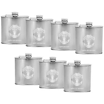 Manchester United FC Official Gift Boxed Laser Engraved 6oz Chrome Hip Flask