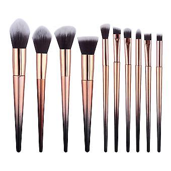 10pcs makeup brush set (gold black 10pcs)
