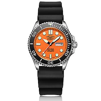 Rotary Super 7 SCUBA Automatic Orange Dial Silicone Strap Men's Dive Watch S7S002S