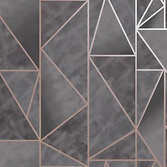 Charon Geometric Wallpaper Charcoal/Rose Gold Holden 91142